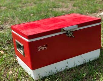 Vintage cooler,Coleman cooler, metal and plastic cooler, ice cooler, picnic, retro decor,