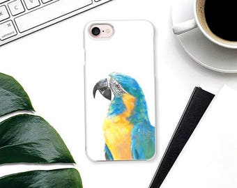 Tropical Macaw Parrot Bird Phone Case - Minimalistic, Colorful, iPhone 7, iPhone 8 Case, Circus, iPhone 7 Plus, Galaxy S8 Case