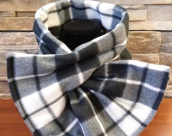 Plaid Scarf, Black and White Scarf, Keyhole Scarf, Keyhole Fleece Scarf, Womens Scarf, Pull Thru Scarf, Christmas Gift, Blizzard Fleece
