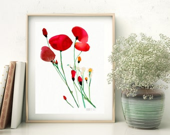 Red poppies art print from original watercolor painting. Modern poppies wall art. Floral painting. Red poppy flower watercolour art print