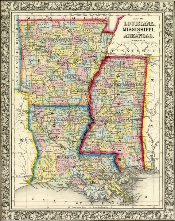 Antique Map of Louisiana Mississippi and Arkansas 1863 8 x