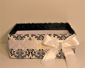Wedding  Program Box Damask and White  Amenities Box Bathroom Accessories Box handkerchiefs Box - Customize your color