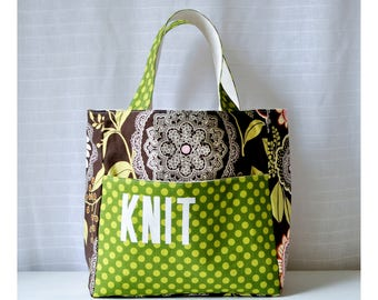 Stand Up Knitting Tote - Lacework in Olive - Knitting Bag with Pockets - Gift for Knitter - Gift for Mom - Gift for Grandma - Project Bag