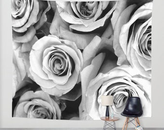 ROSES Black White Wall Tapestry, Flower Wall Art, Large Tapestry, Fine Art Photography, Nature, Floral Decor, Feminine, Dorm, Rosebuds