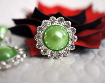 3 Lime Metal Rhinestone Buttons or Flower Centers - Rhinestone Embellishment Button- 21mm Flat Back Acrylic Buttons
