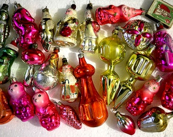 Vintage Christmas Decorations Glass Baubles Ornaments set of 20 Set 23 1970s from Russia Soviet Union USSR