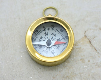 1 - Mini Compass Pendant Charm Shiny Gold Brass with White Face REALLY WORKS  Brass Compass Charm Vintage Style Jewelry Supplies (BA076)