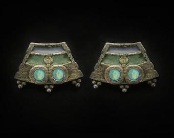 Glowing Opal Chichimec's Temple Stud Earrings, Ancient Jewelry, Post Earrings, Gold Studs Silver Studs Tribal Jewelry, Boho Earrings Jewelry