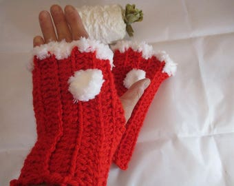 Red fingerless gloves from acrylic yarn crocheted Christmas red and white fur finish, mothers day gift