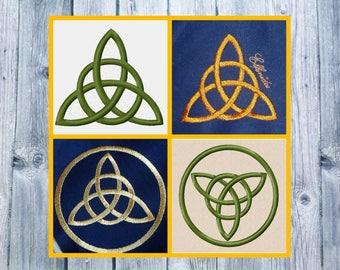 Embroidery file, Triquetra embroidered, Celtic knots, 10x10 files, two embroidered Celtic symbols
