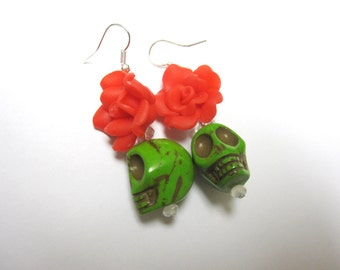 Day Of The Dead Earrings Sugar Skull Jewelry Green  Red Rose