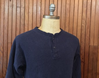 LL Bean Medium River Driver Two Layer Thermal Henley Shirt Men's Vintage Navy Blue