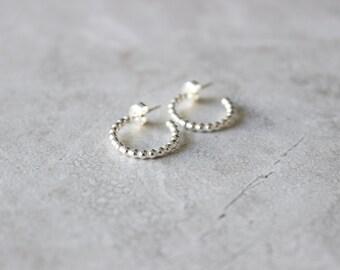 Silver Dot Hoops, Silver Hoop Earrings, Sterling Silver Earrings