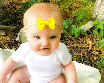 Yellow Bow Nylon Headband, Small Yellow Bow Headband, Yellow Nylon Headband, Easter Bow Headband, Baby Headband, Newborn Bow Headband