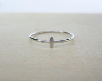 Silver Tiny Bar Ring - Dainty Cross Ring - Small Line Silver Ring - Minimal Sterling Silver Ring - Simple Bar Ring - Delicate Dash Ring