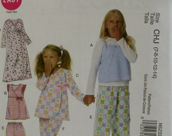 McCall's M6239  Girl's Top, Gown and Pants Sewing Pattern New/ Uncut Size 7, 8, 10, 12, 14
