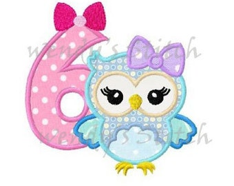 owl birthday applique number 6 machine embroidery design