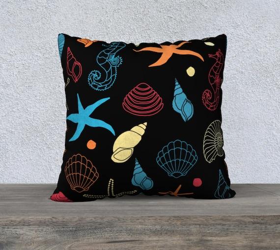 nautical seashell ocean life cushion cover size 22x22 inches