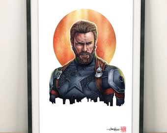 Captain America - Avengers: Infinity War - Illustrated Giclee Print