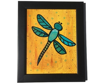 Dragonfly Art - Insect Wall Art - Bug Art - Original Art - Framed Wall Art Decor - Mixed Media Collage Painting - Yellow and Green