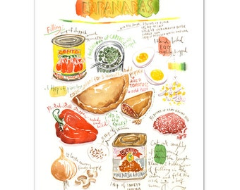 Taco recipe print mexican taco illustration mexico empanada recipe print illustrated recipe latin american food poster spanish decor world forumfinder Image collections