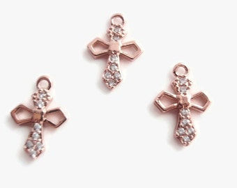 1 Brass Micro Pave CZ Cross Charm, Jewelry Making Supply, Latin Cross, Rose Gold color Metal, Crystal color stones, Lead Free