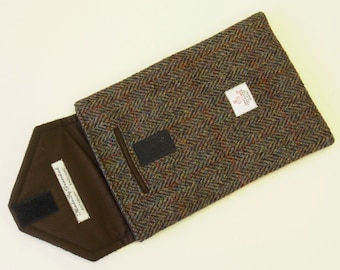 iPad Mini case with padded Harris Tweed cover and Phone pouch