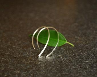 Thin Silver Earrings, Sterling Silver Earrings, Dangle, Hammered, Elegant Open Hoop Earrings, Lightweight Modern Minimalist Wire Design