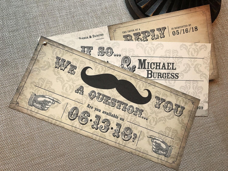 When Do You Order Wedding Invitations: Mustache Wedding Invitations Pointing Hand Invite Wild West