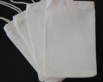"10 MUSLIN BAG Organic Cotton 3""x4"" 4""x6"" 2""x3"" 3""x5"" 5""x7"" 6""x8"" Bulk Favor Wedding Shower Packaging Reuse Culinary Small Plain"
