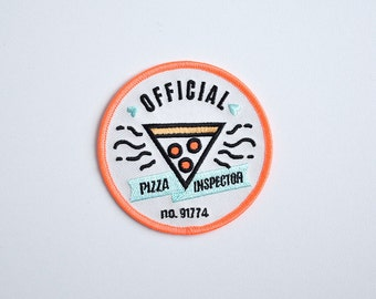 Iron on patch // Official Pizza Inspector // Pizza // Food // Funny embroidered patch for jacket