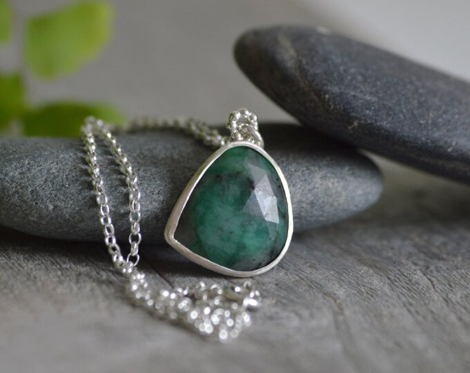 Rose Cut Emerald Necklace, 7.65ct Emerald Necklace, May Birthstone, Large Emerald Necklace Handmade In The UK