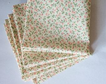 Floral Pocket square,coral and sage pocket square,floral pocket square, coral and sage floral handkerchief,mens pocket square