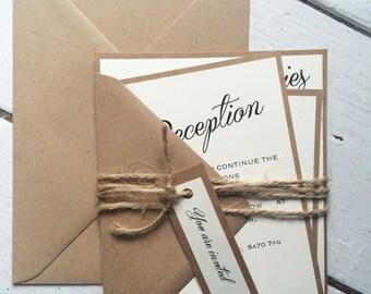 Rustic wedding invitation suite, ivory brown and twine wedding invitation suite, rustic wedding, boho wedding