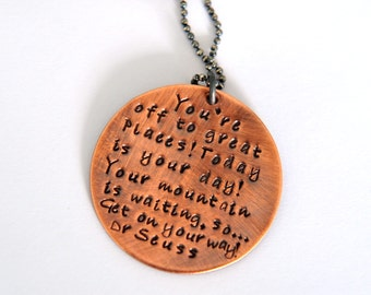 Graduation Necklace, Inspiration Quote Jewelry, Hand Stamped Jewelry, 21st Birthday Gift, Travelling Gift, 18th Birthday Neckalace