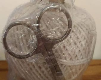 Vintage style  twine holder,  ball of twine and scissors