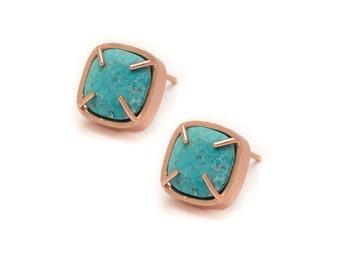 Turquoise Stud Earrings - Gold Gemstone Stud Earrings - Turquoise in Yellow Gold - 18k Rose Gold Vermeil - Studs