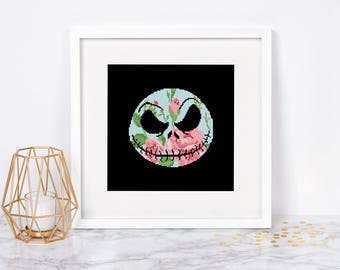 Jack Skellington cross stitch pattern Nightmare Before Christmas Face Silhouette Halloween Pumpkin Fall Autumn Instant download PDF #061