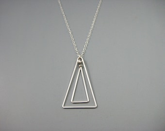 Silver Triangle Necklace - modern minimalist architecture jewelry, geometric pendant on sterling silver chain, art deco, Linked Triangle Up