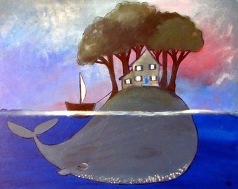 Surreal Whale Painting Whimsical Kids Art Print Wall Nursery Decor
