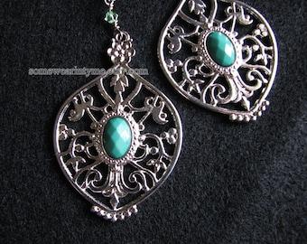 Large statement earrings   silver filigree   blue dangle   boho chic   women   Final Sale