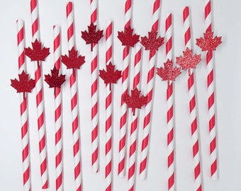 Canada Day Paper Straws, Canada Day Party Supplies