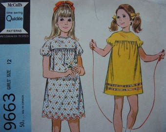 vintage 1960s McCalls sewing pattern 9663 girls dress in two versions size 12 UNCUT