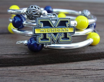 Michigan beaded wrap around bracelet
