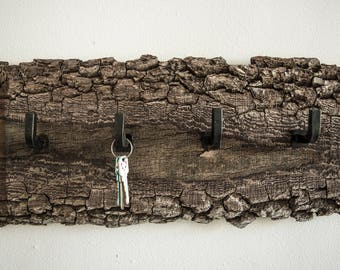Handmade Rack Made With Wood And Antique Hooks