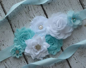 Baby blue white  Sash , flower Belt, maternity sash, wedding sash, flower girl sash, maternity sash belt