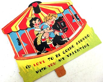 Carousel Horse Movable Valentines Day Card-   Merry-Go-Round   R - suitable for framing