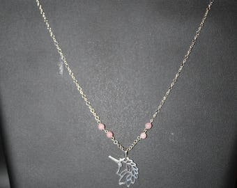 Pink Unicorn and Opal Necklace