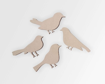 Wooden Birds Cutout (4 Pack) - Cutout, Home Decor, Unfinished and Available from 12 to 42 Inches Tall