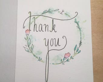 Water Colour Thank you Card
